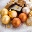 X-mas brown gift box close up — Stock Photo