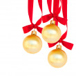 Hanging three golden balls — Foto de Stock