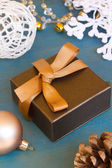 Brown gift box for christmas — Stock Photo