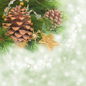Chrismas tree and pine cones — Stock Photo