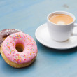 Stock Photo: Donuts with black coffee