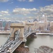 Chain Bridge and Pest skyline at day ,Budapest — Stock Photo