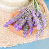 Lavender flowers and soap — Stock Photo