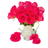 Mauve roses posy in vase — Stock Photo