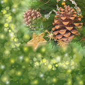 Chrismas decorations and pine cones — Stock fotografie
