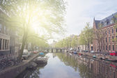 Embankment of canal ring, Amsterdam — Stock Photo