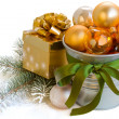 Christmas decorations with present  box — Stock Photo