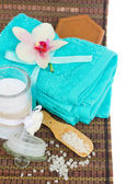 Towels and bath accessories — Stock Photo