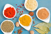 Powdered spices on blue table close up — Stock Photo