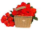 Bouquet of bright orange roses with basket — Stock Photo