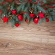 Decorated fir tree border — Stock Photo