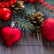 Christmas  red   heart and fir tree — Stock Photo