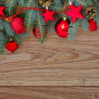 Decorated fir tree border, vertical shot — Stock Photo