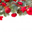 Fir tree and red christmas decorations — Stock Photo