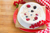 Plate of oat flakes with berries — Stock Photo