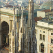 Spires of Duomo and  Galleria Vittorio Emanuele II — Stock Photo
