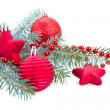 Fir tree branch and red   decorations — Stockfoto