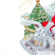 Silver  decorations and chritmas tree — Stock Photo