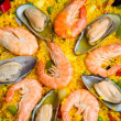 Paella -traditional spanish dish background — Stock Photo