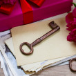 Stock Photo: Old mail and key on