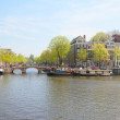Amstel river and embankment,  Amsterdam, Holland — ストック写真