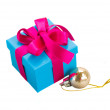 Blue  christmas gift boxes — Stock Photo