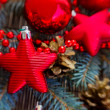 Christmas  red  stars  and fir tree — Stock Photo