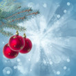 Christmas red balls on blue background — 图库照片
