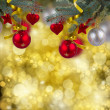 Stock Photo: Christmas hanging decorations border