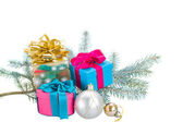 Fir tree branch and gift boxes — Foto de Stock