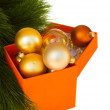 Set of golden christmas balls with fir tree — Stock Photo