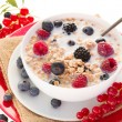 The oat flakes with berries on white — Stock Photo