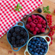 Three bowls of fresh berries — Stock Photo