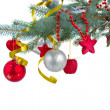 Christmas decorations hanging on fir blue tree — Stock Photo