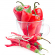 Chili peppers in glass bowl — Stock Photo