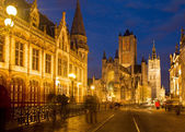Nichlas church and Belfry tower, Ghent — Stock Photo