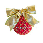 Red Christmas ball with golden bow — Stock Photo