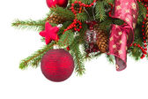 Green fir tree and red christmas ball — Stock Photo