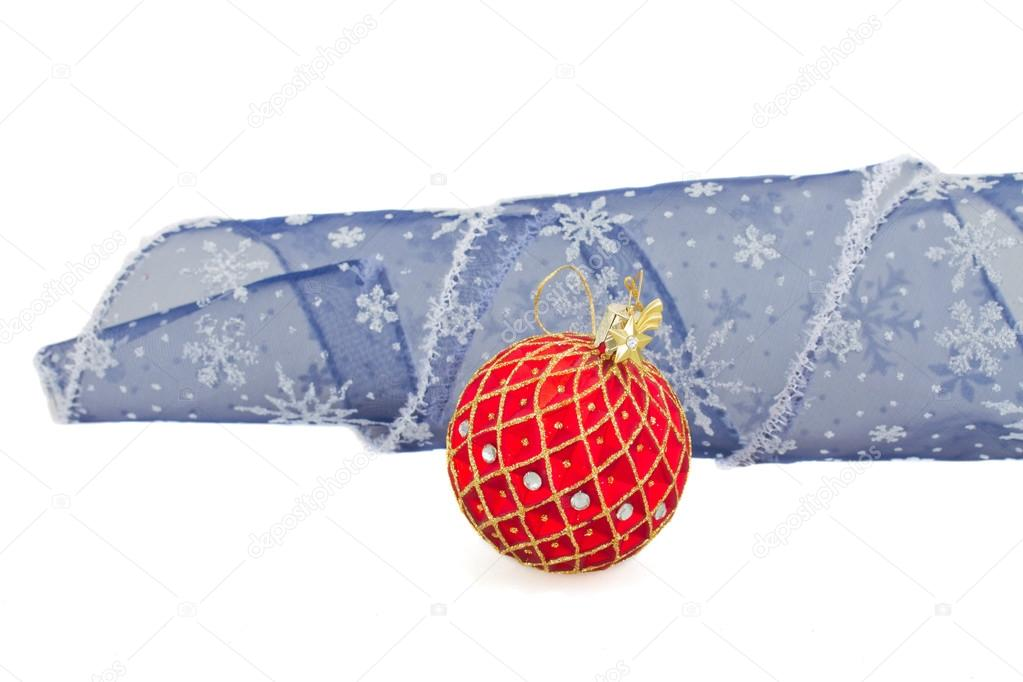 Blue Christmas Bow Transparent Background Red Christmas Ball With Blue Bow Isolated on White Background Photo by