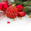 Evergreeen  tree and red christmas decorations — Stock Photo