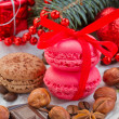 Cookies with christmas  decorations close up — Stock Photo