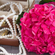 Pink hortensia flowers and jawel box close up — Stock Photo