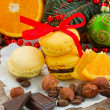 Stack of yellow cookies for christmas  decorations — Stock Photo