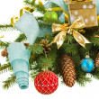 Evergreen fir tree with christmas decorations — Stock Photo