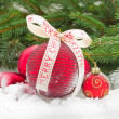 Stock Photo: Red christmas balls in snow