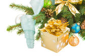 Christmas tree and decorations with gift box — Stok fotoğraf