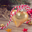 Goldenchristmas decoration — Stock Photo