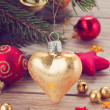 Golden heart christmas decoration — Stock Photo