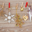 Chrismas decorations hanging on rope — Stock Photo