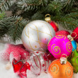 Pile of colorful christmas balls — Stock Photo